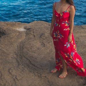 Red floral Express maxi dress